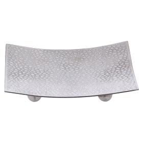 Portacandele quadrato stile moderno alluminio argentato s1