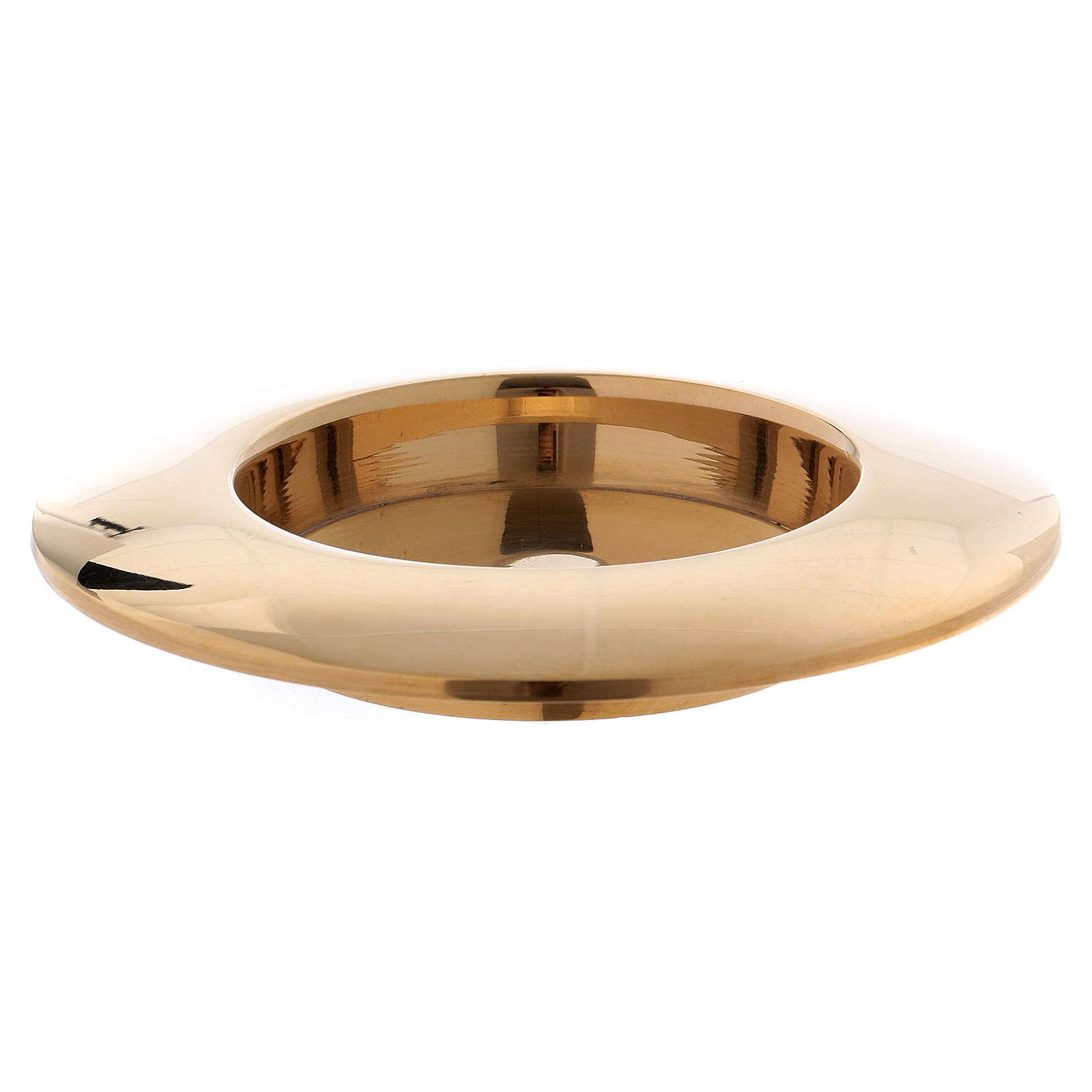 Portacandele ottone dorato lucido bordo rialzato 3