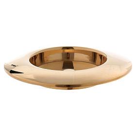 Portacandele ottone dorato lucido bordo rialzato s2