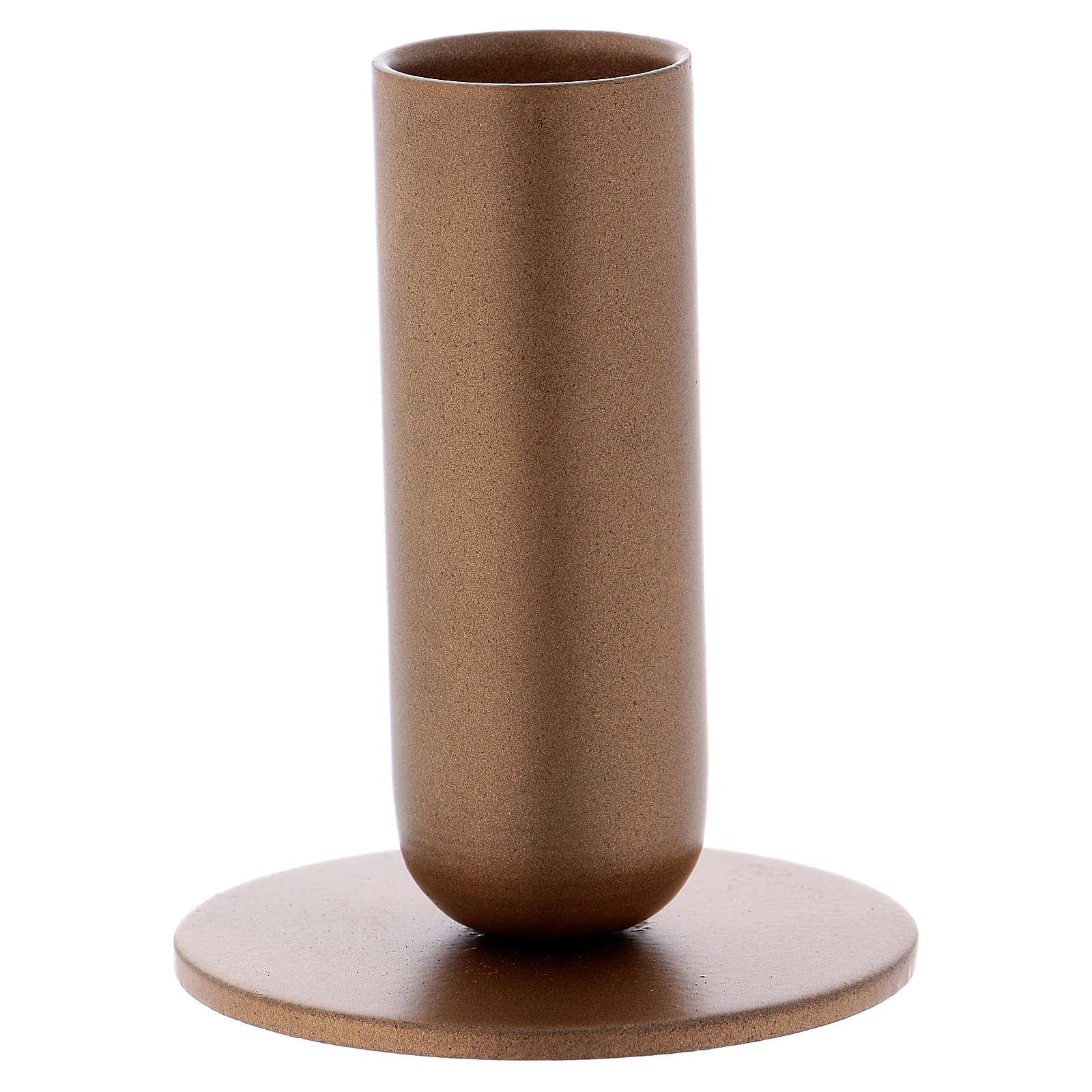 Portacandela tubolare ferro dorato 3