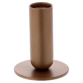 Portacandela tubolare ferro dorato s1