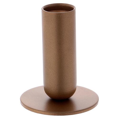 Portacandela tubolare ferro dorato 1