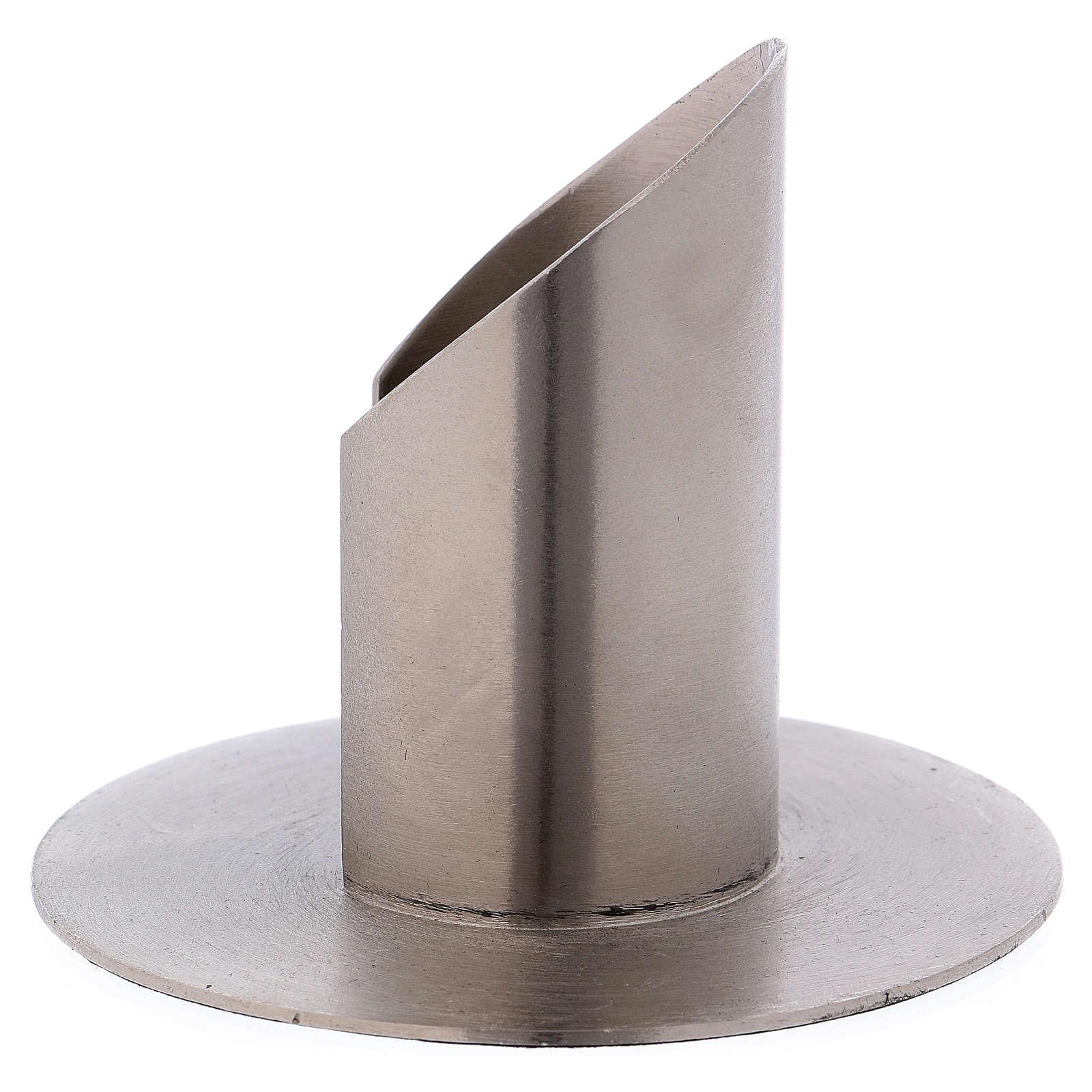 Portacandele tubolare aperto ottone argentato 4