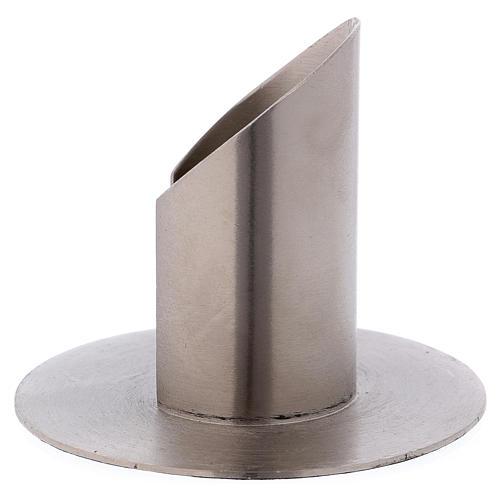Portacandele tubolare aperto ottone argentato 2