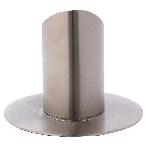 Portacandele tubolare aperto ottone argentato 3
