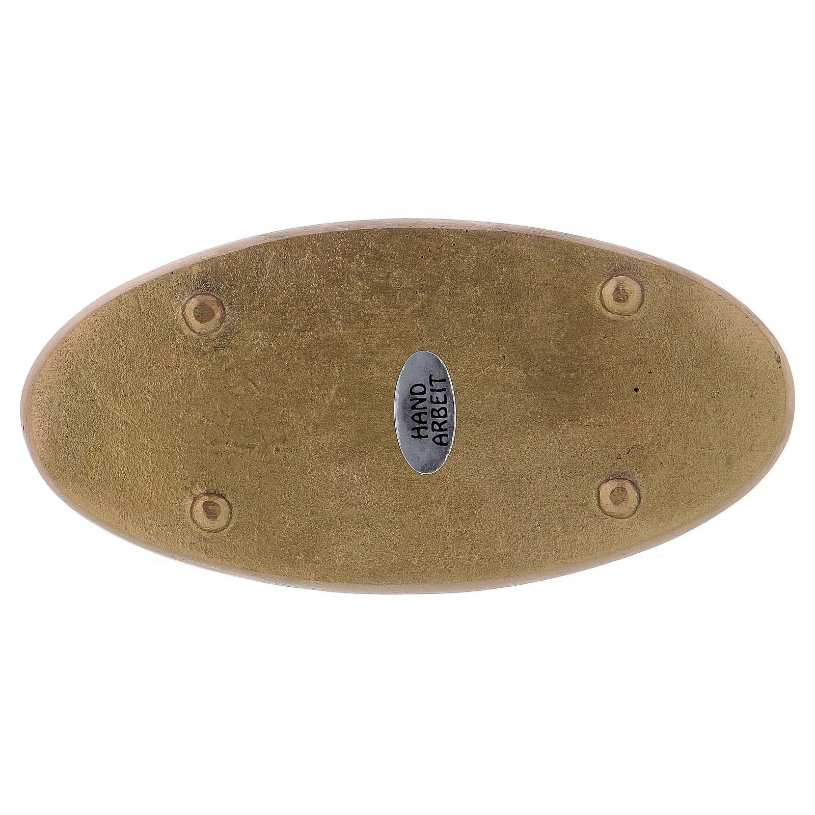 Platillo portacirio ovalado latón opaco 3