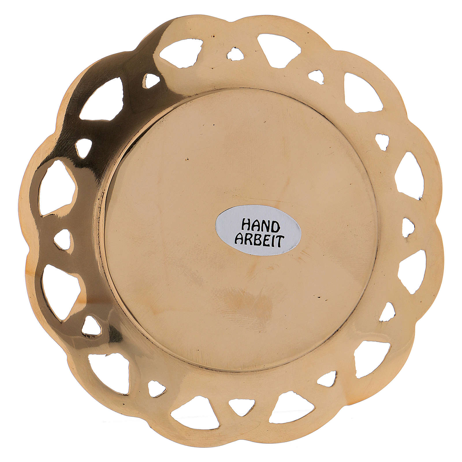 Candle holder plated in brass with perforated edge 3