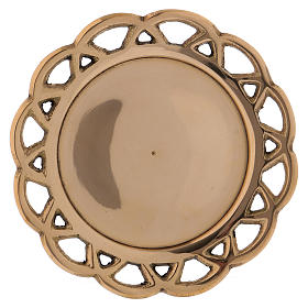 Candle holder plated in brass with perforated edge s1