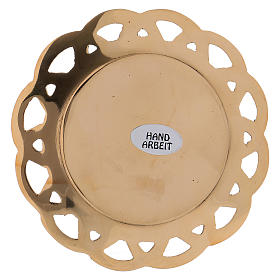 Candle holder plated in brass with perforated edge s2