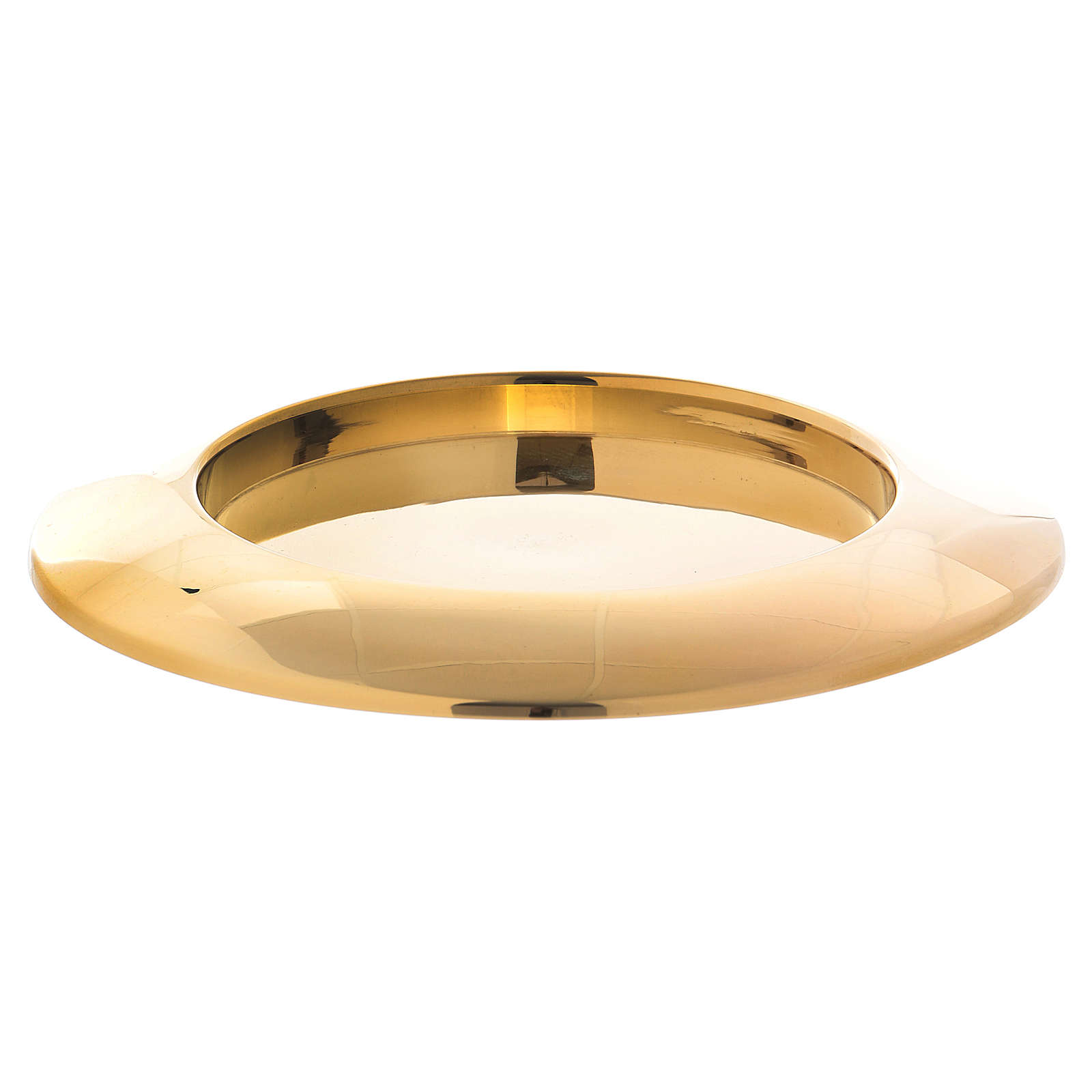 Piattino portacandela bordo rialzato ottone dorato  3