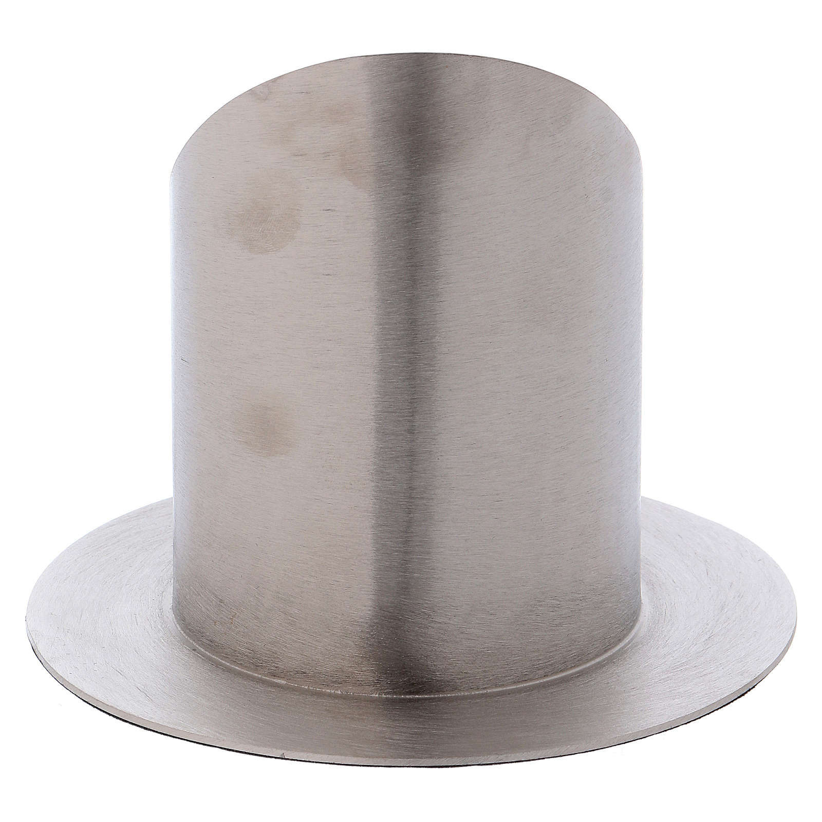 Portacero cilindrico ottone argentato satinato 4