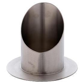 Portacero cilindrico ottone argentato satinato s1