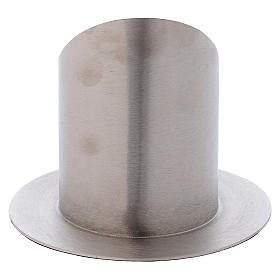 Portacero cilindrico ottone argentato satinato s3