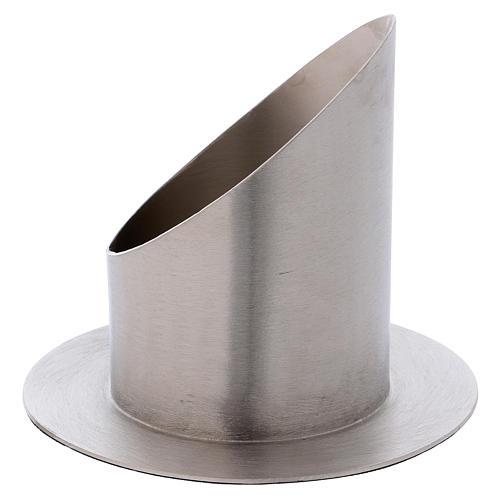 Portacero cilindrico ottone argentato satinato 2