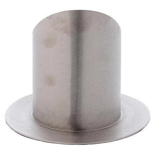 Portacero cilindrico ottone argentato satinato 3