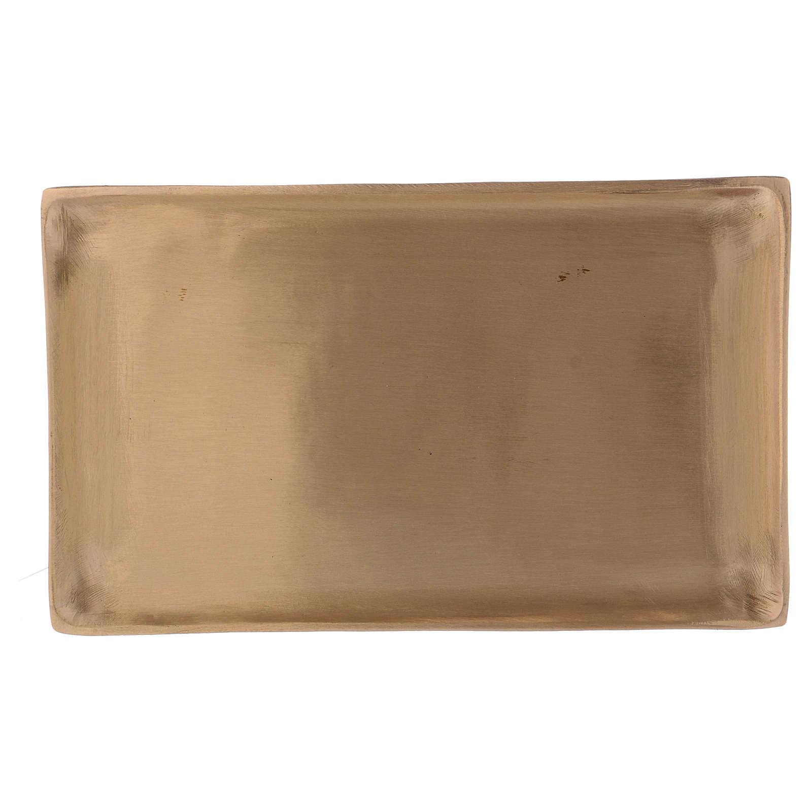 Piattino portacandele ottone dorato rettangolare 3