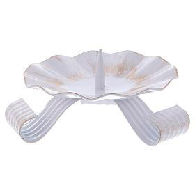 Bougeoir 3 pieds avec pique laiton blanc et doré s1