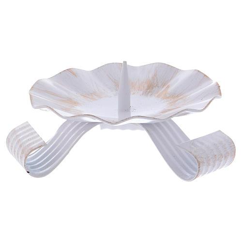 Bougeoir 3 pieds avec pique laiton blanc et doré 1