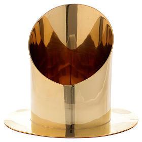 Portacirio cilíndrico latón dorado diám 8 cm s1