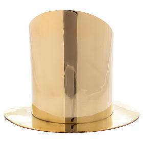 Portacero cilindrico ottone dorato lucido diam 8 cm s3