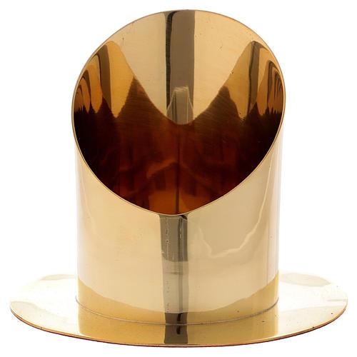 Portacero cilindrico ottone dorato lucido diam 8 cm 1