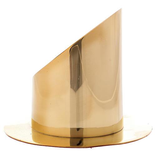 Portacero cilindrico ottone dorato lucido diam 8 cm 2