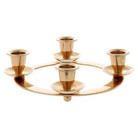 Candelabro corona 4 llamas para Adviento latón dorado s1