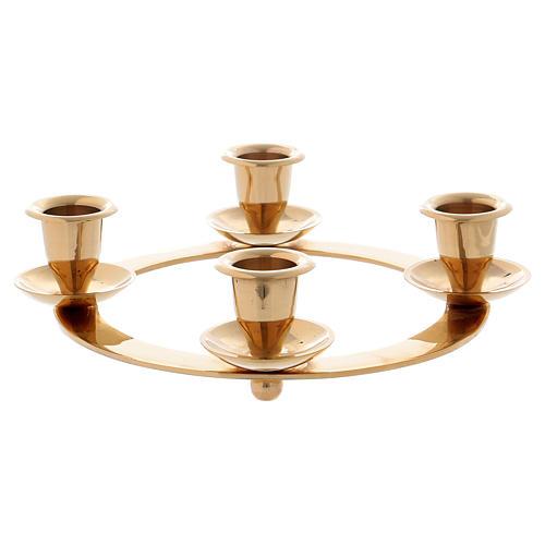 Candelabro corona 4 llamas para Adviento latón dorado 1