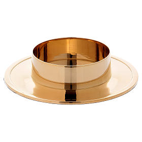 Simple candle holder in gold-plated brass diam. 8 cm s1