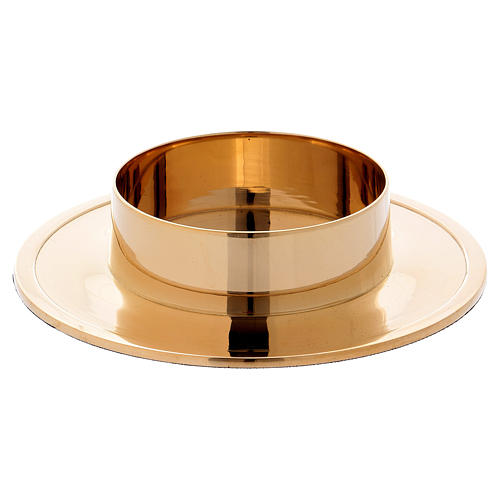 Simple candle holder in gold-plated brass diam. 8 cm 1
