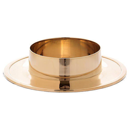 Simple candle holder in gold-plated brass diam. 8 cm 2