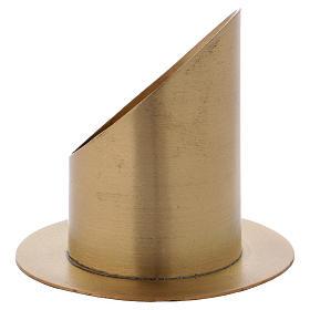 Portacero cilindrico ottone dorato opaco diam. 7 cm s2