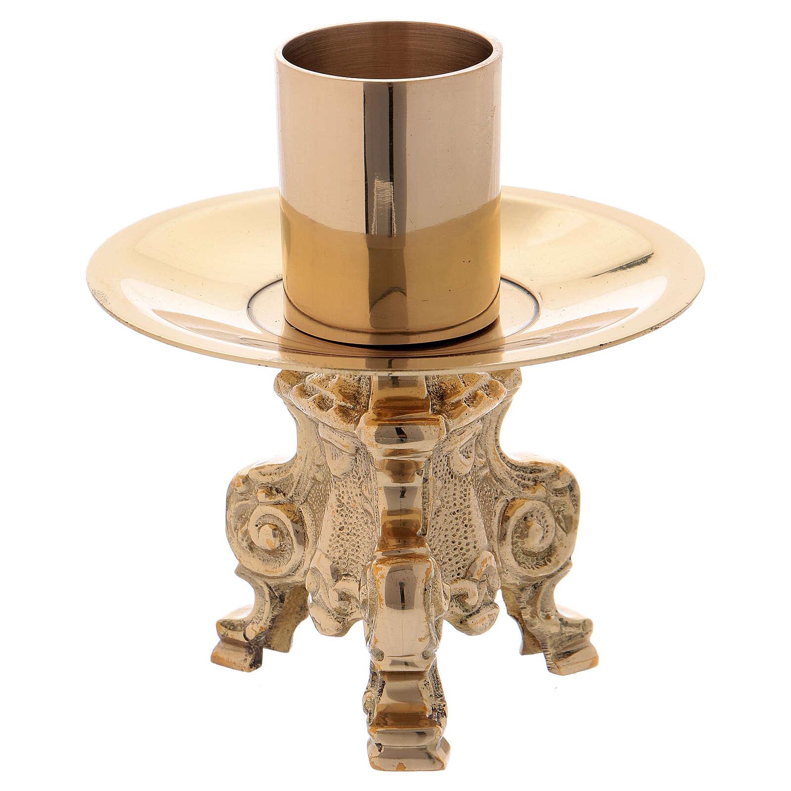 Altar candelabra 3 lite gold plated brass 4