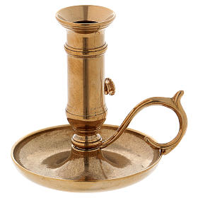 Candle holder with handle and plate in gold-plated brass s1