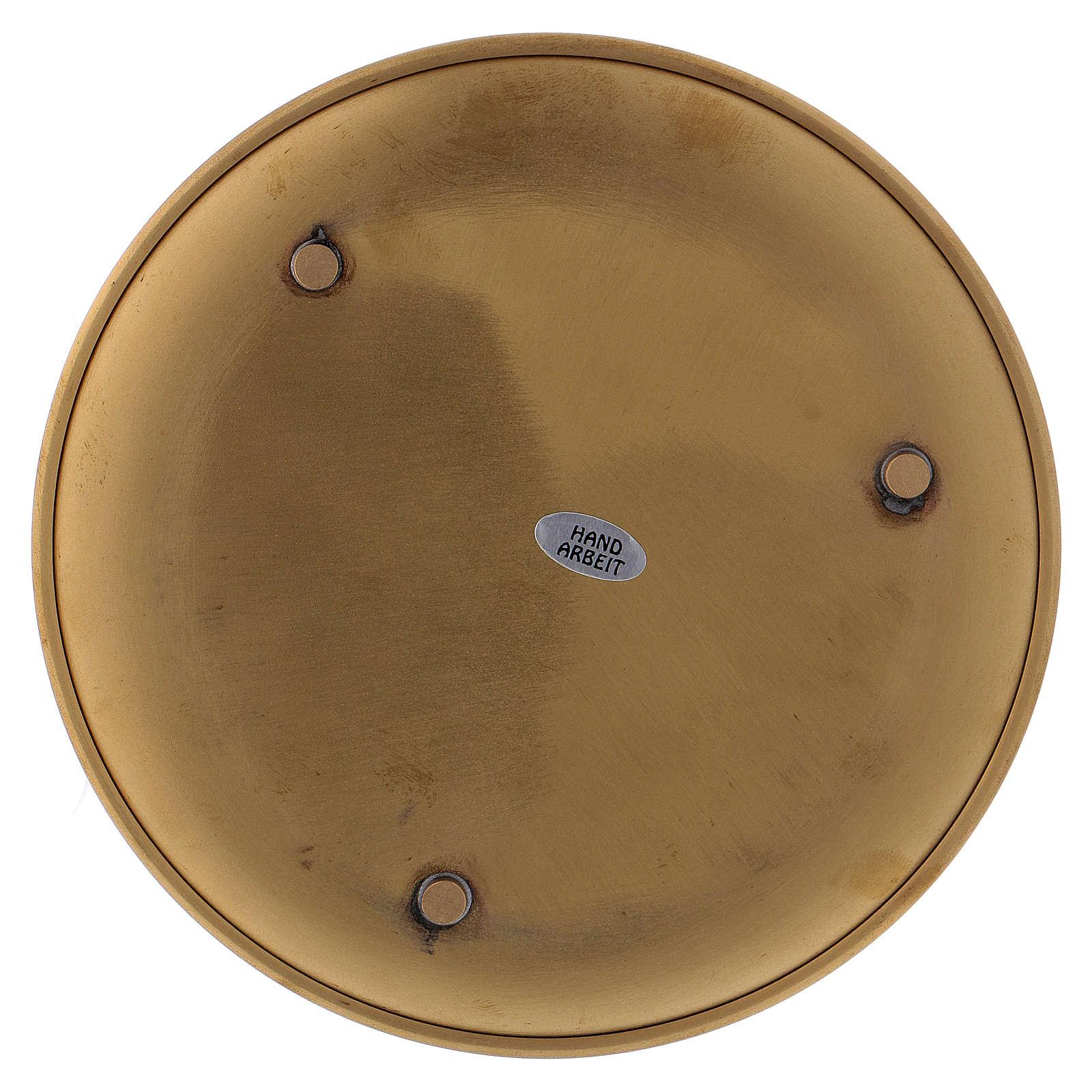 Piattino portacero ottone dorato opaco 17 cm 3