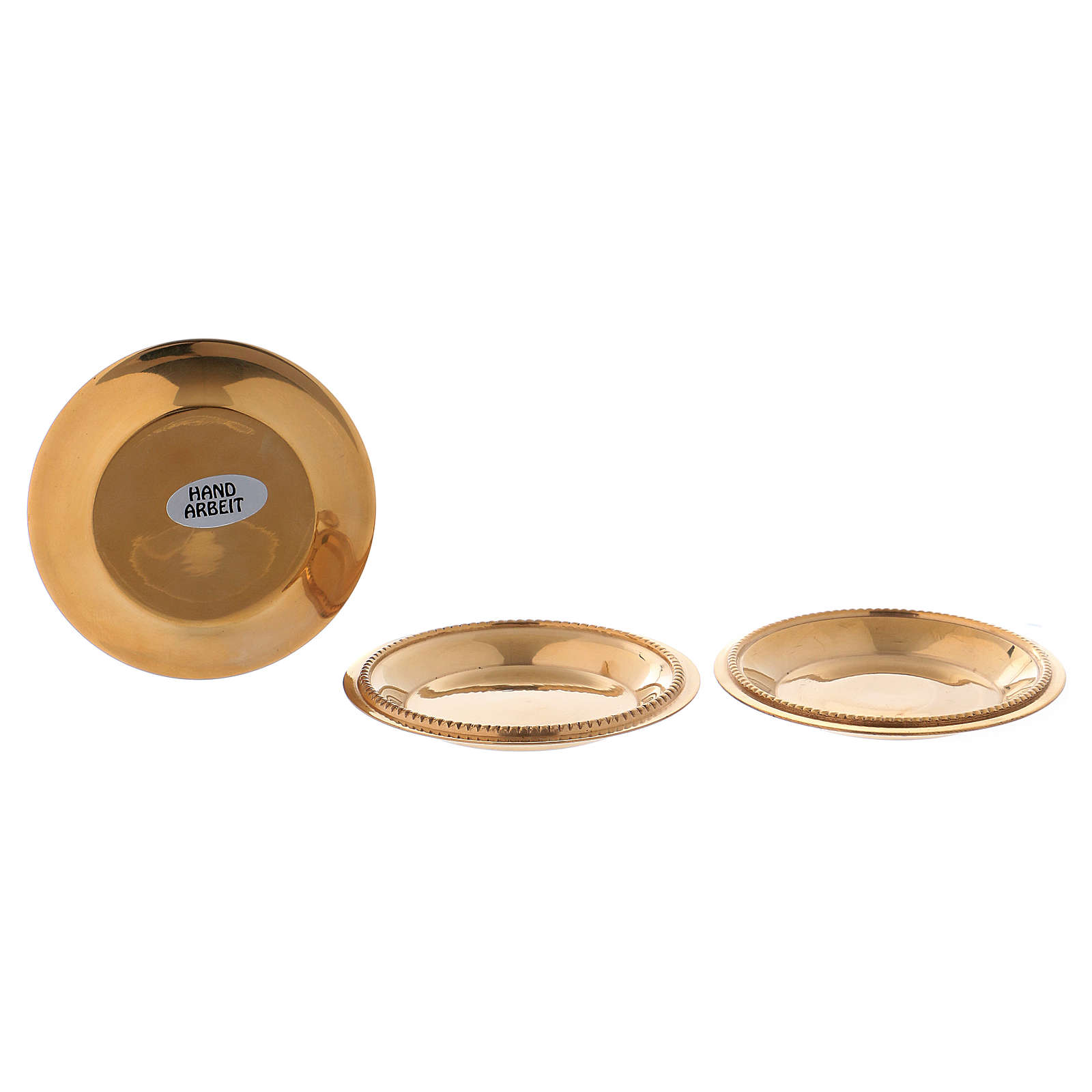 Set 3 piattini portacandela ottone dorato 4,5 cm 3