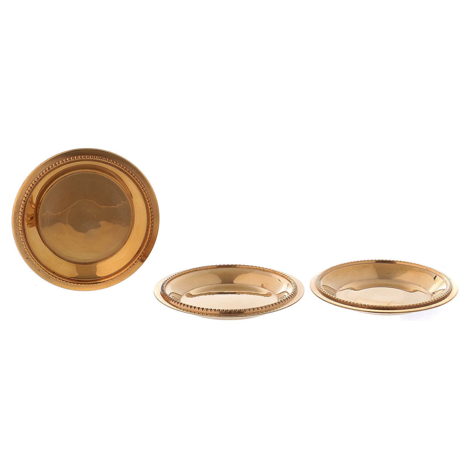 Kit of 3 candle holder plates gold plated brass 1 3/4 in 3