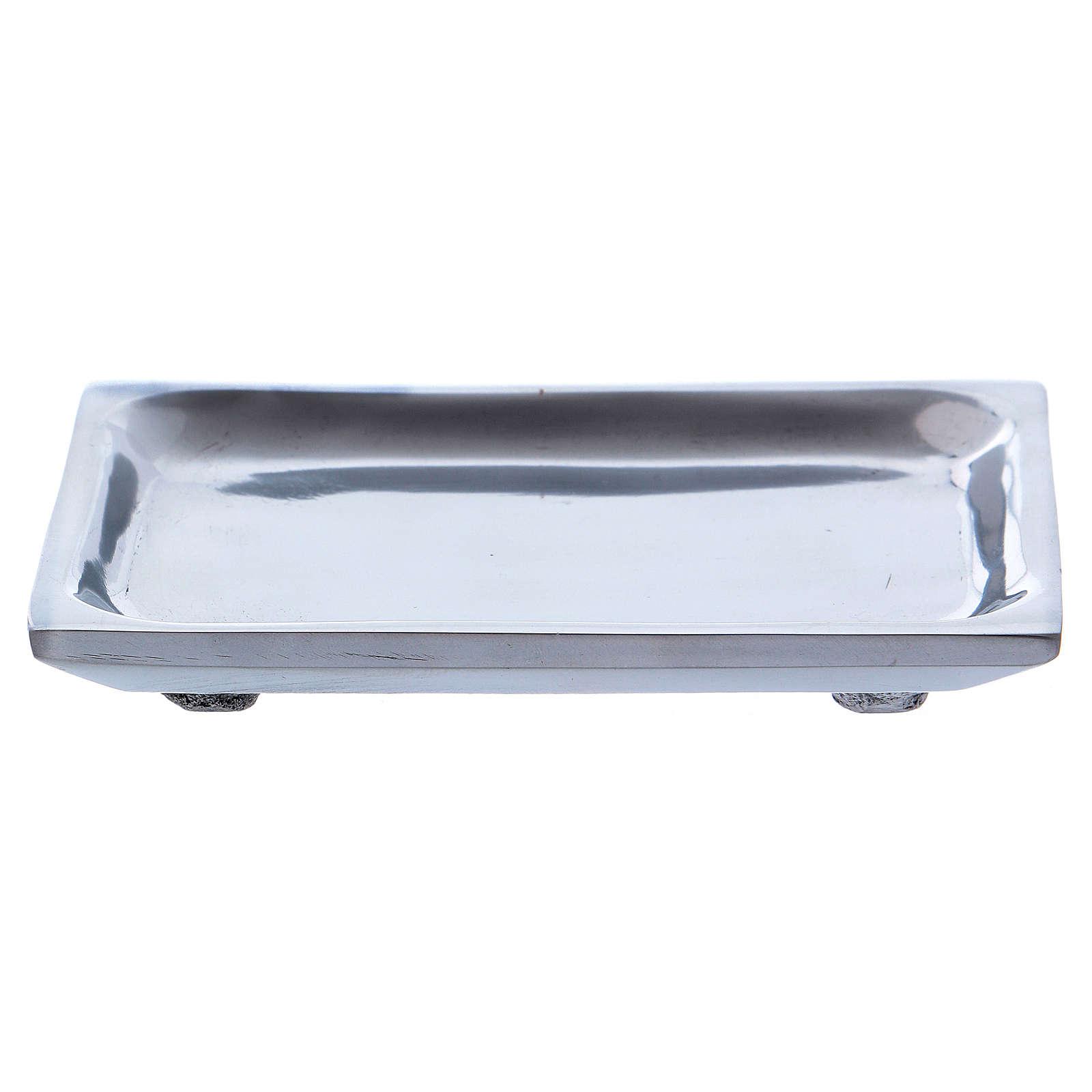 Piattino rettangolare portacandela alluminio nichelato 3