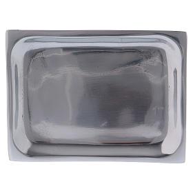 Piattino rettangolare portacandela alluminio nichelato s1