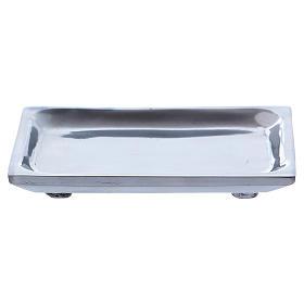 Piattino rettangolare portacandela alluminio nichelato s2