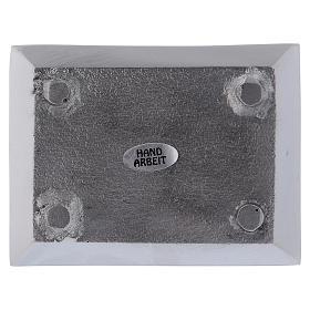 Piattino rettangolare portacandela alluminio nichelato s3