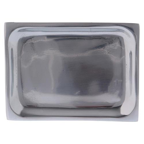 Piattino rettangolare portacandela alluminio nichelato 1