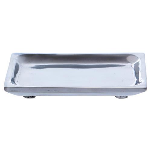 Piattino rettangolare portacandela alluminio nichelato 2