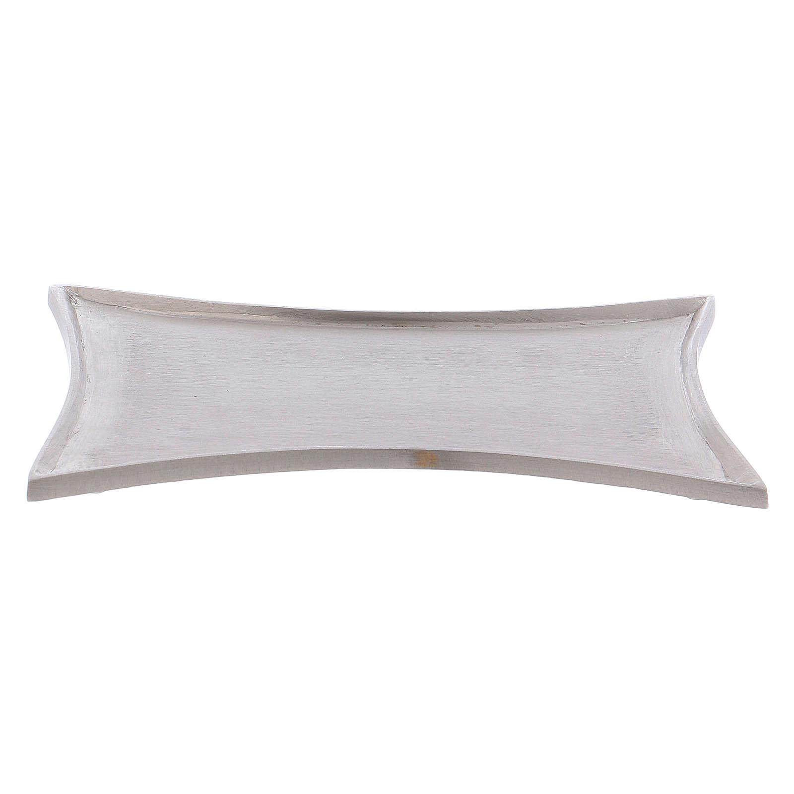 Piattino portacero bordi concavi ottone argentato 3