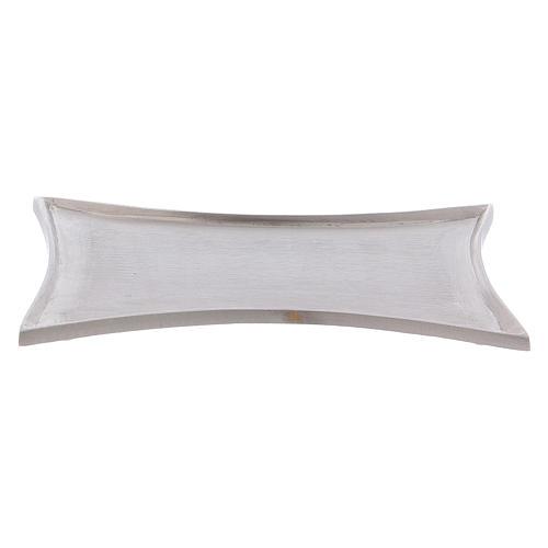 Piattino portacero bordi concavi ottone argentato 2
