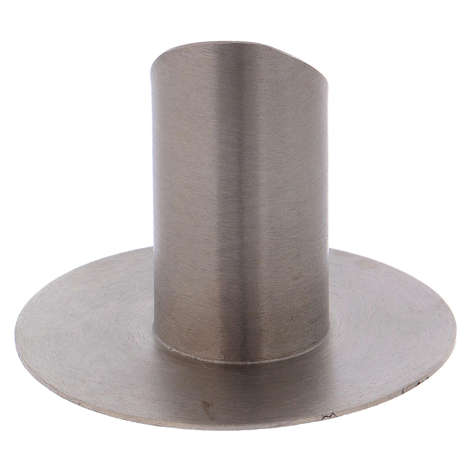 Portacandela tubolare con apertura ottone argentato opaco 3 cm 4
