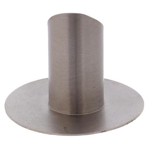Portacandela tubolare con apertura ottone argentato opaco 3 cm 3