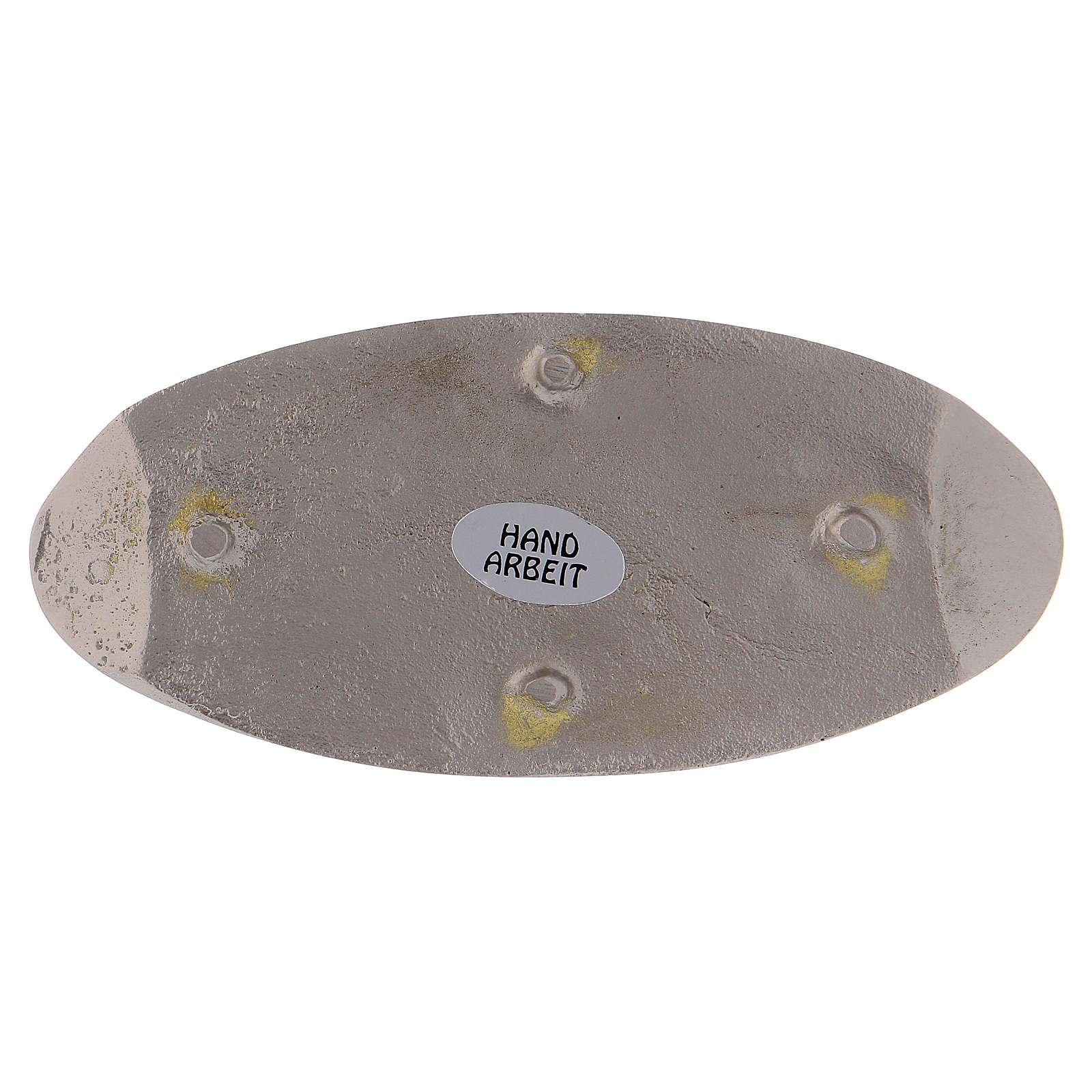 Portacandela ovale ottone argentato opaco 12 cm 3
