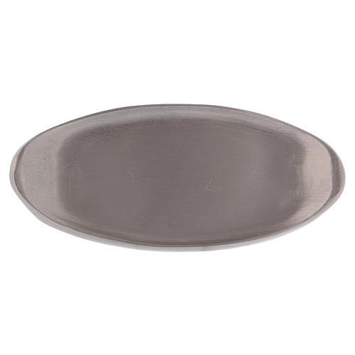 Portacandela ovale ottone argentato opaco 12 cm 1