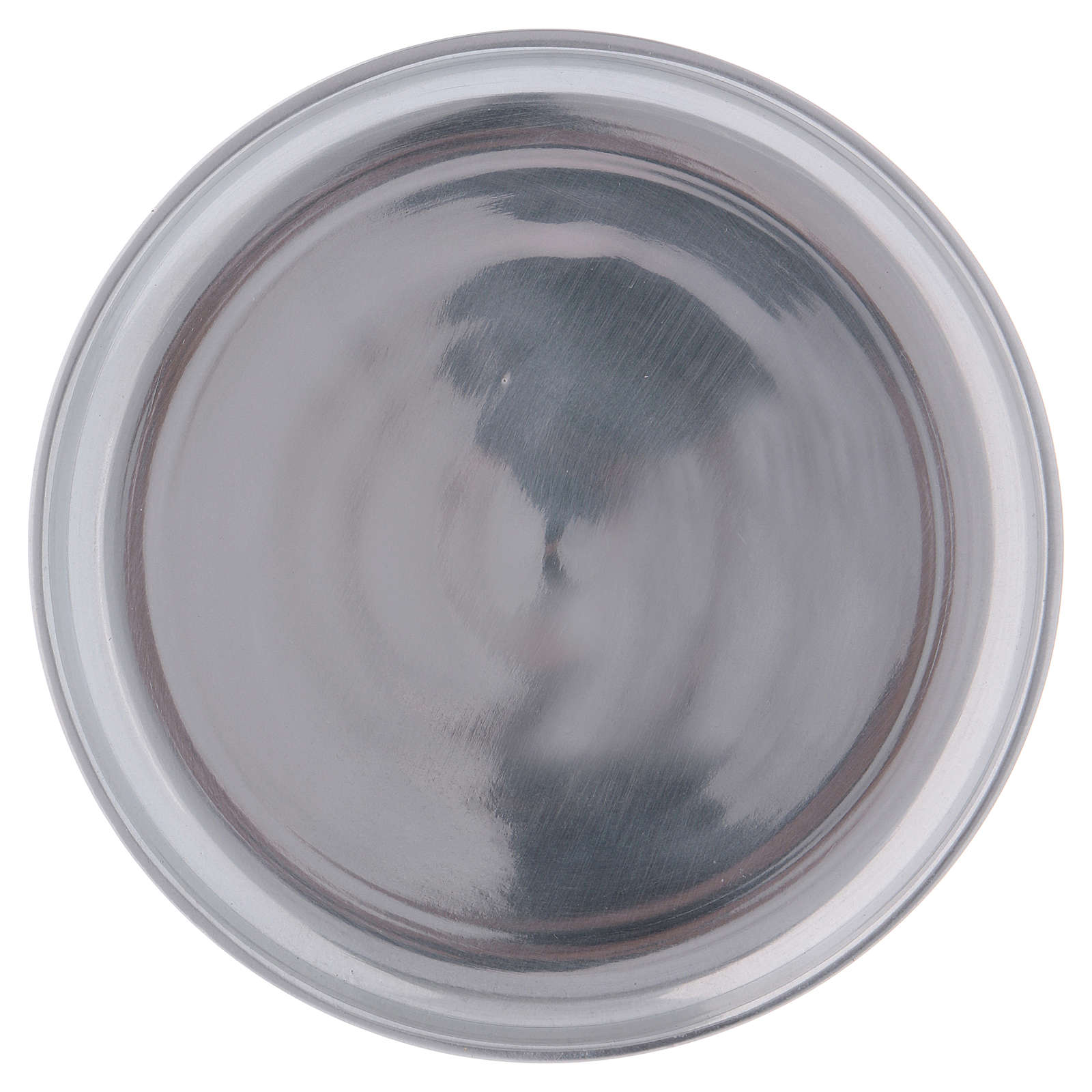 Piattino portacero semplice ottone argentato lucido 3